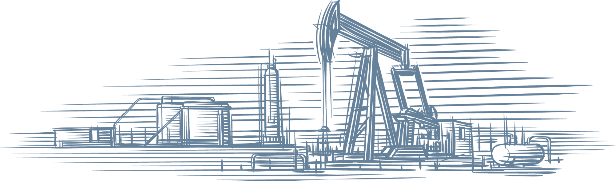 Illustration of a pump jack and well site.